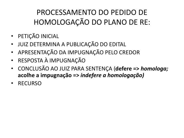 PROCESSAMENTO DO PEDIDO DE HOMOLOGAÇÃO DO PLANO DE RE: