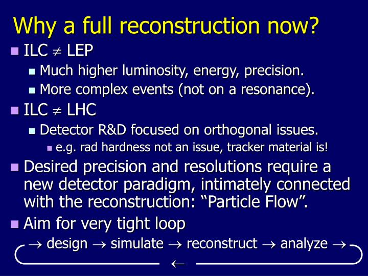 Why a full reconstruction now?