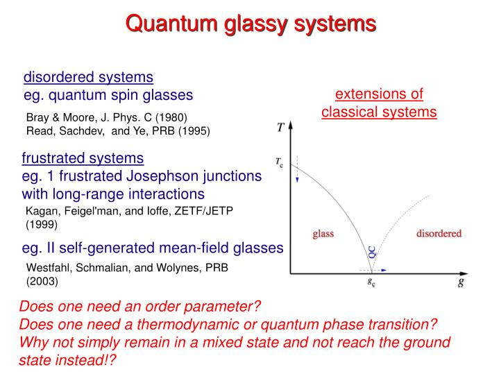 Quantum glassy systems