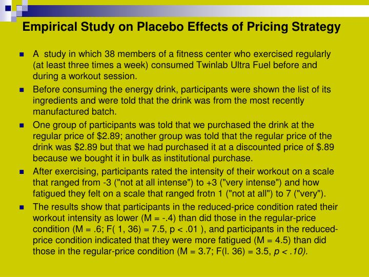 Empirical Study on Placebo Effects of Pricing Strategy