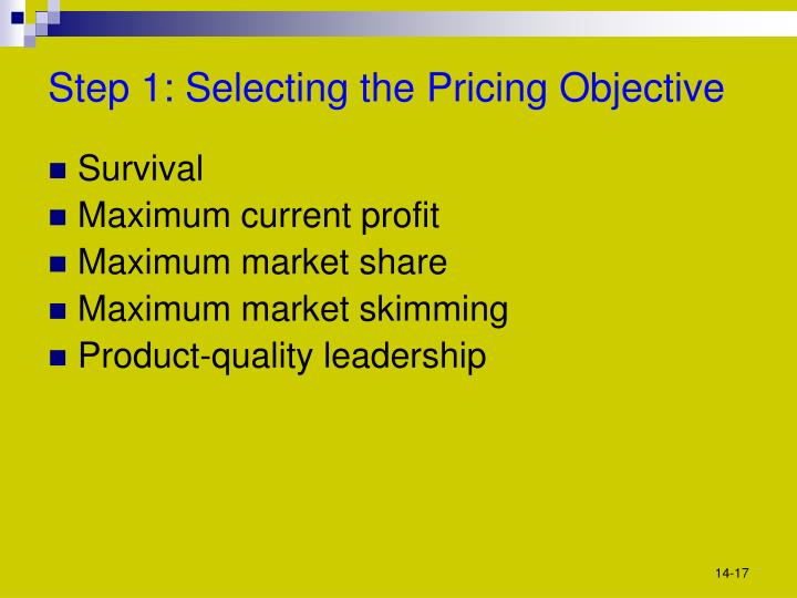 Step 1: Selecting the Pricing Objective