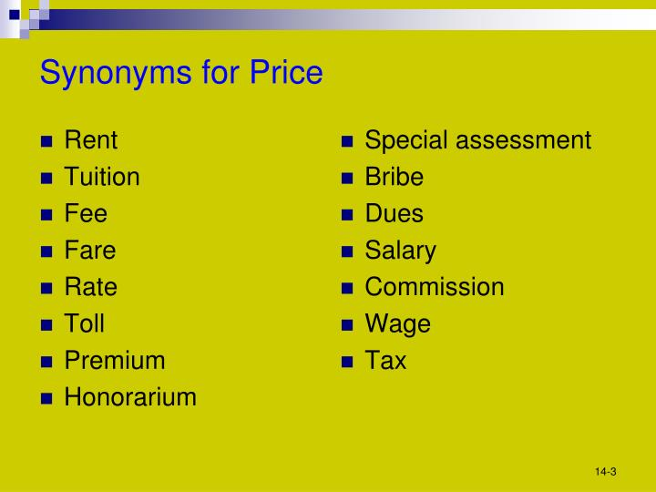 Synonyms for price