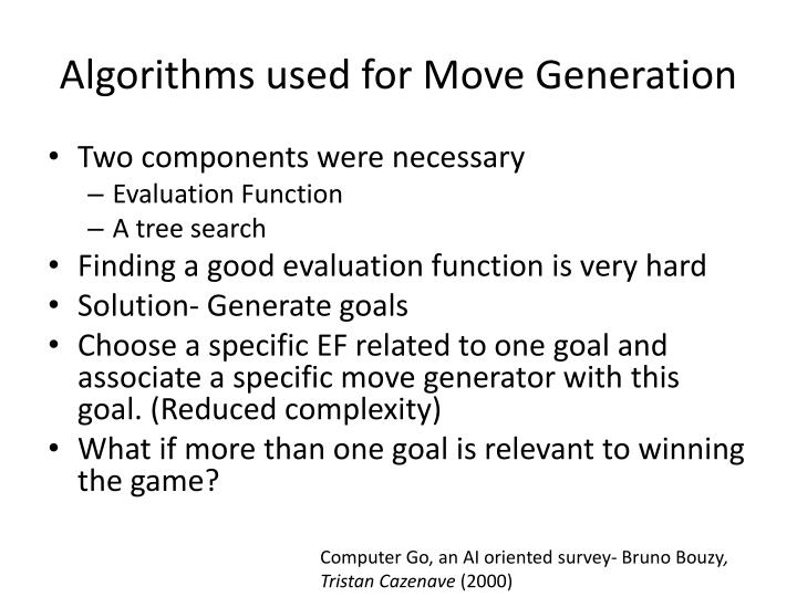 Algorithms used for Move Generation