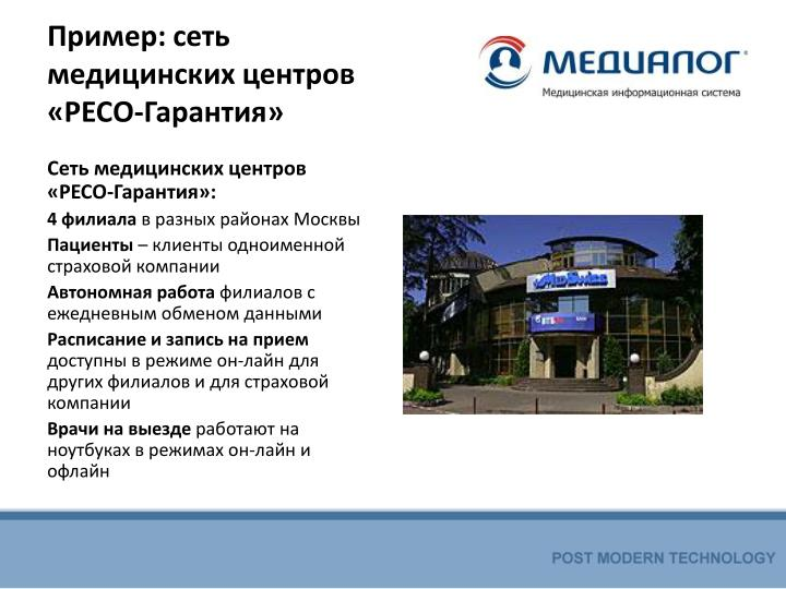 Пример: сеть медицинских центров «