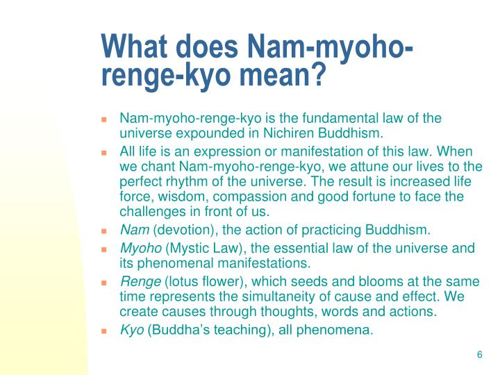 What does Nam-myoho-renge-kyo mean?