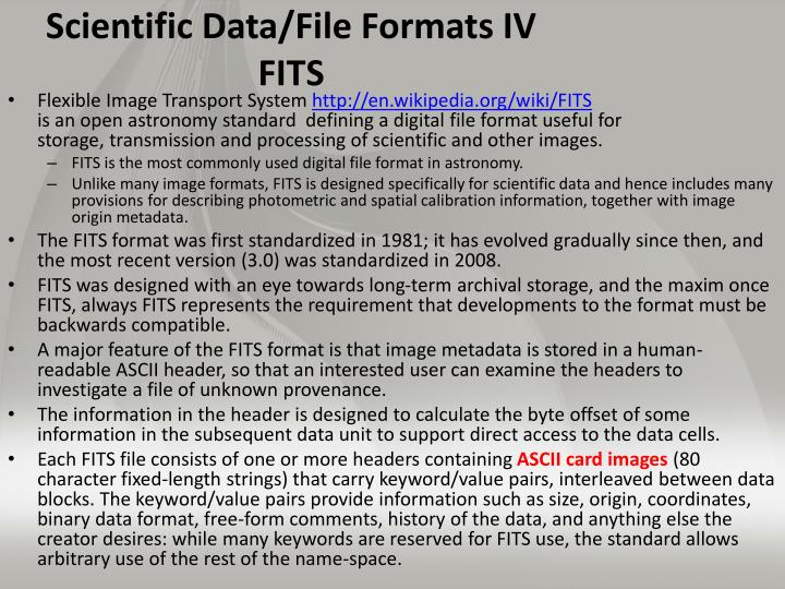 Scientific Data/File Formats IV