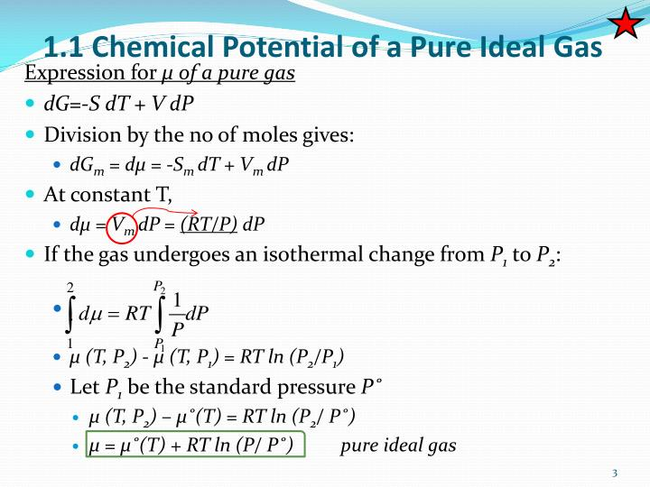 1 1 chemical potential of a pure ideal gas
