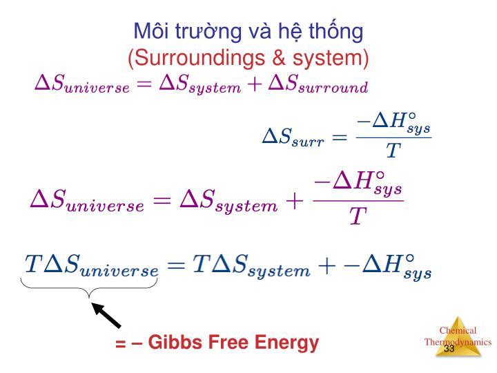 = – Gibbs Free Energy