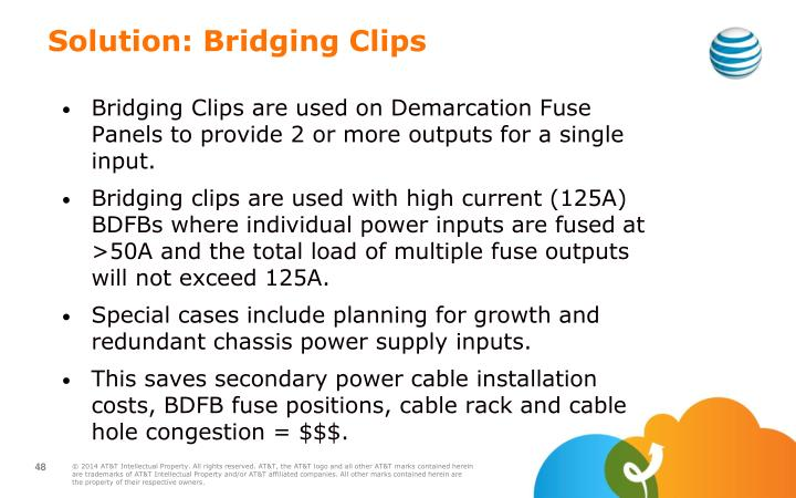 Bridging Clips are used on Demarcation Fuse Panels to provide 2 or more outputs for a single input.