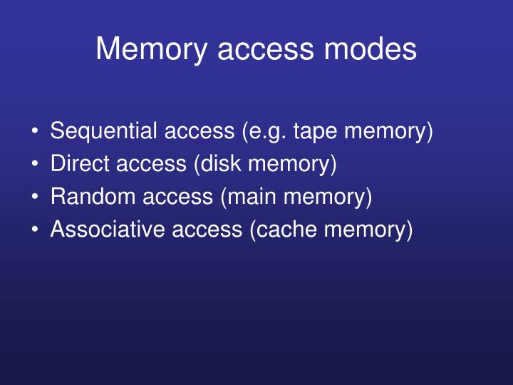Memory access modes