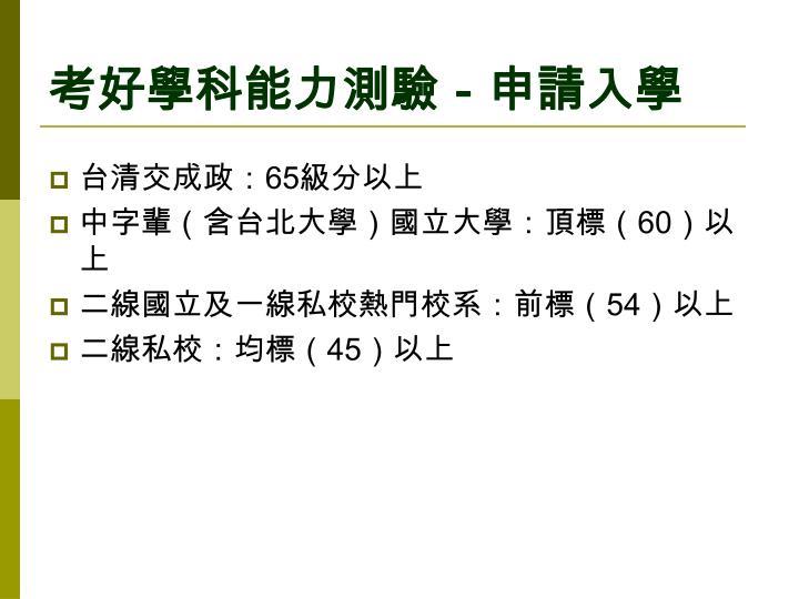 考好學科能力測驗-申請入學
