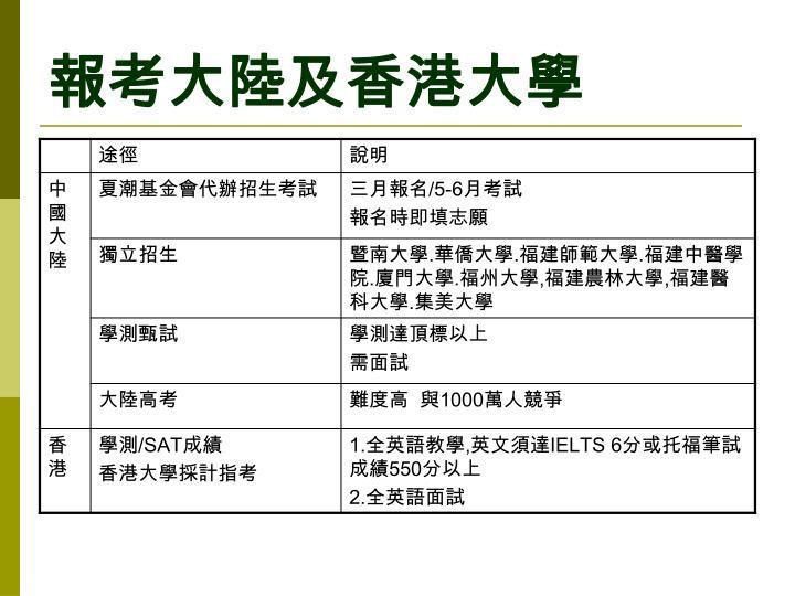 報考大陸及香港大學