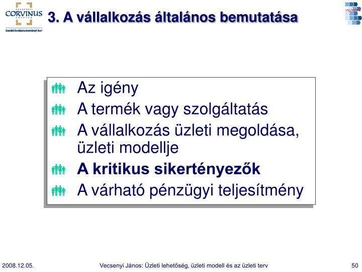 3. A vállalkozás általános bemutatása