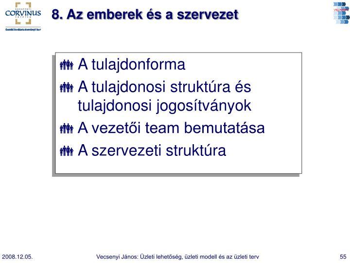 8. Az emberek és a szervezet