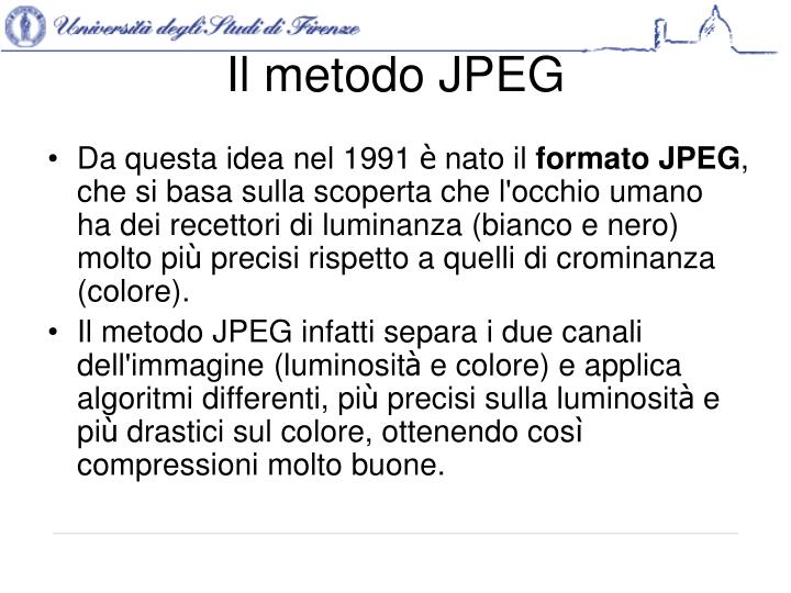 Il metodo JPEG