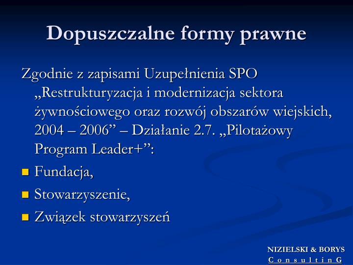 Dopuszczalne formy prawne