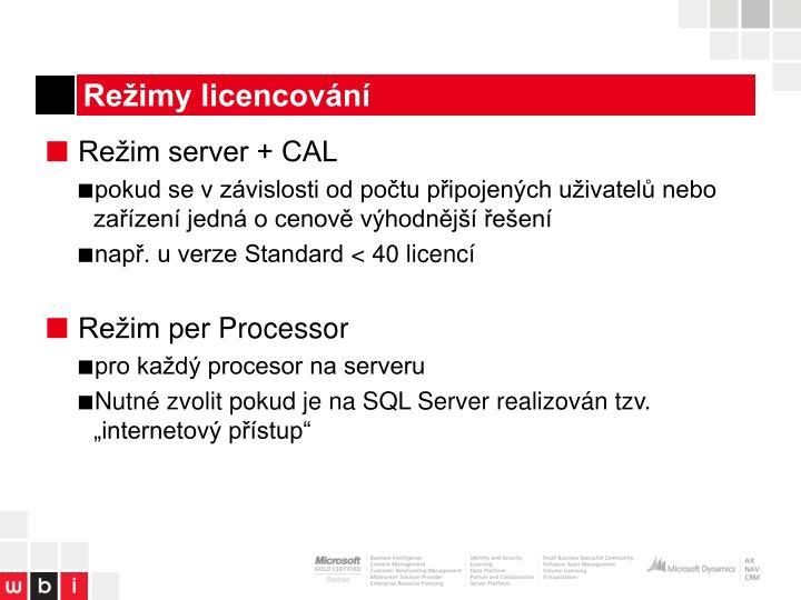 Režimy licencování