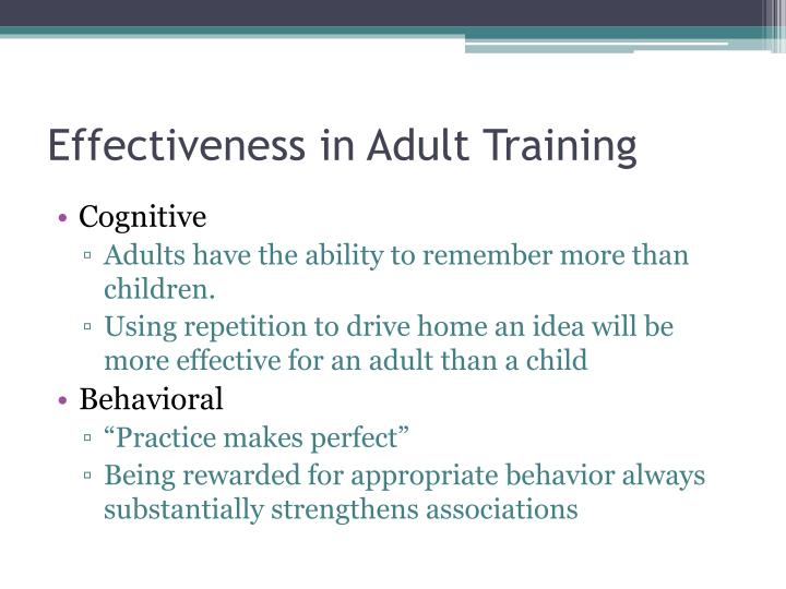 Effectiveness in Adult Training