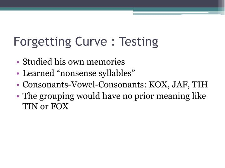 Forgetting Curve : Testing