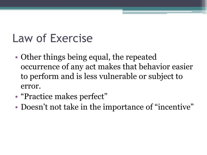 Law of Exercise