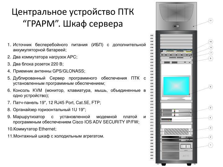 """Центральное устройство ПТК """"ГРАРМ"""". Шкаф сервера"""