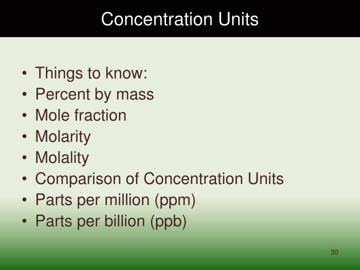 Concentration Units