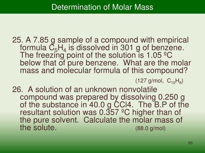 Determination of Molar Mass