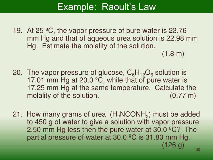 Example:  Raoult's Law