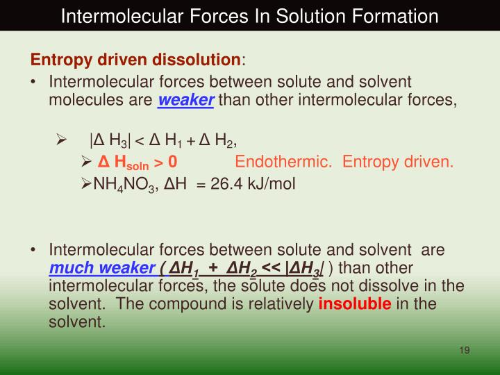 Intermolecular Forces In Solution Formation