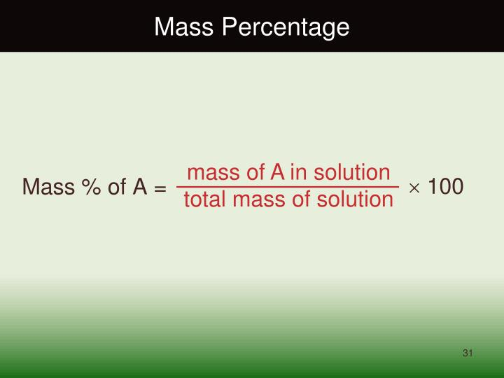 Mass Percentage