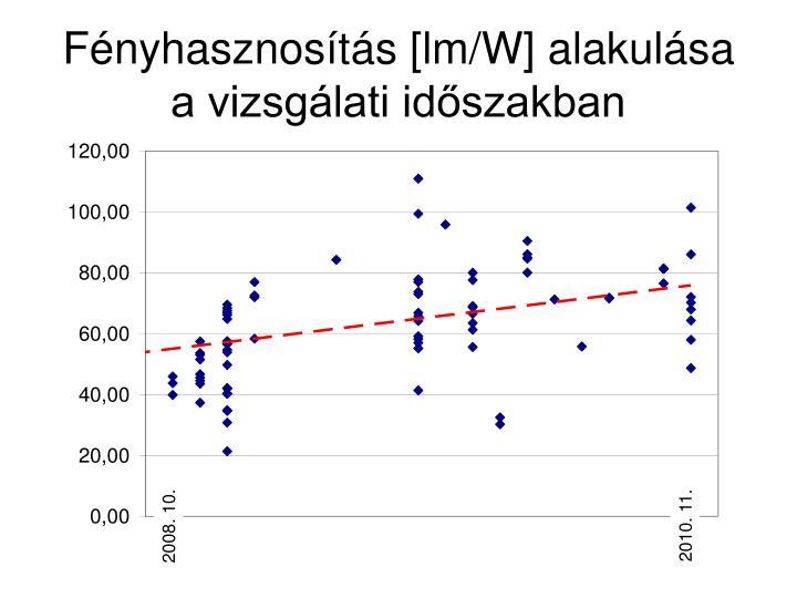 Fényhasznosítás [lm/W] alakulása a vizsgálati időszakban