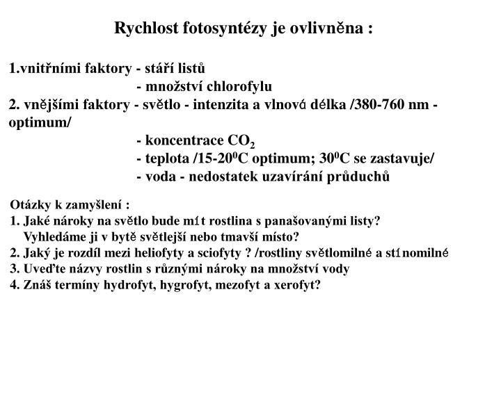 Rychlost fotosyntézy je ovlivn