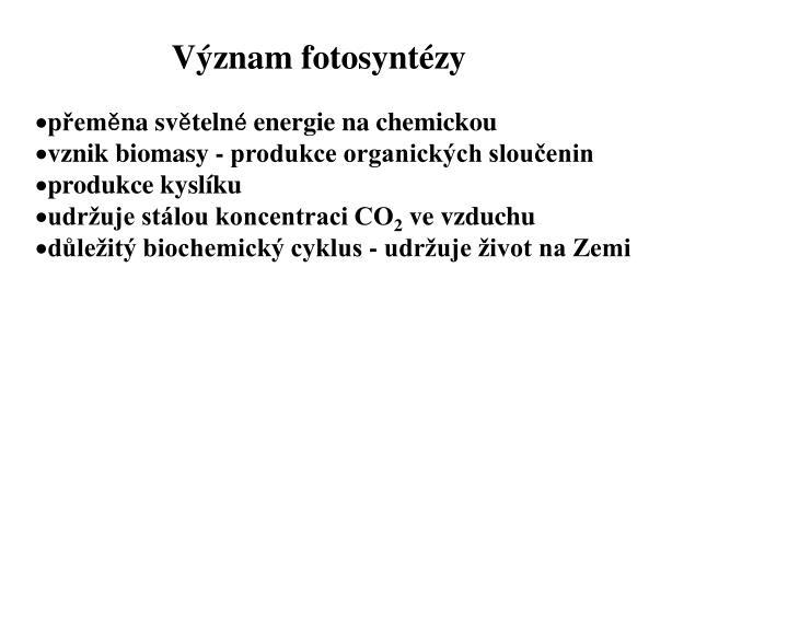 Význam fotosyntézy