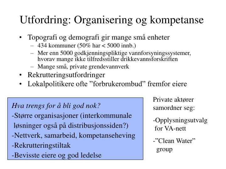Utfordring: Organisering og kompetanse