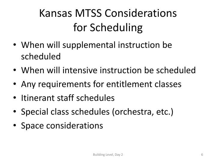 Kansas MTSS Considerations