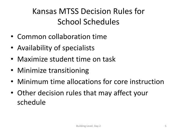 Kansas MTSS Decision Rules for