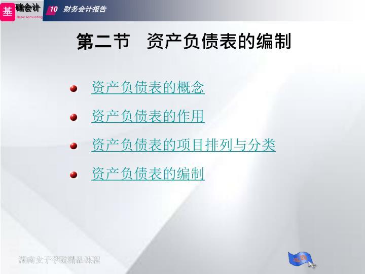 第二节   资产负债表的编制