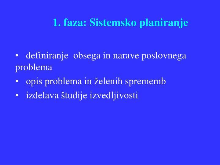 1. faza: Sistemsko planiranje