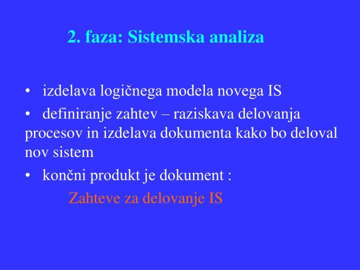 2. faza: Sistemska analiza