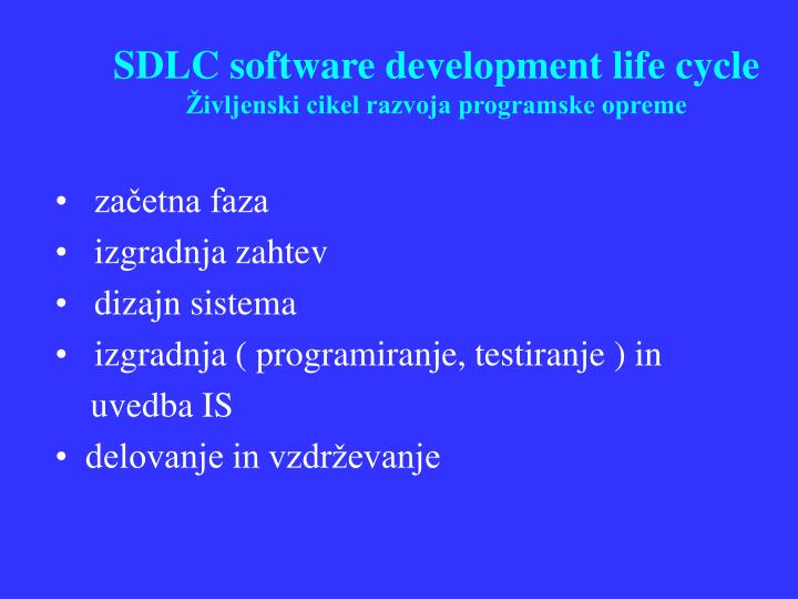 SDLC software development life cycle