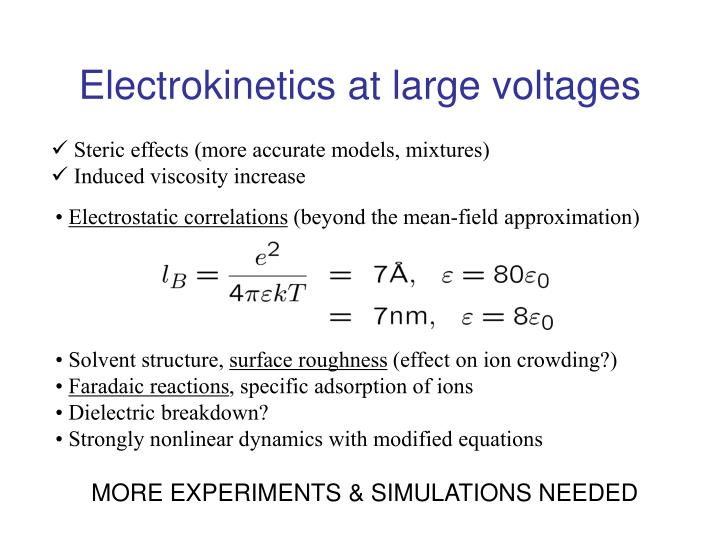 Electrokinetics at large voltages