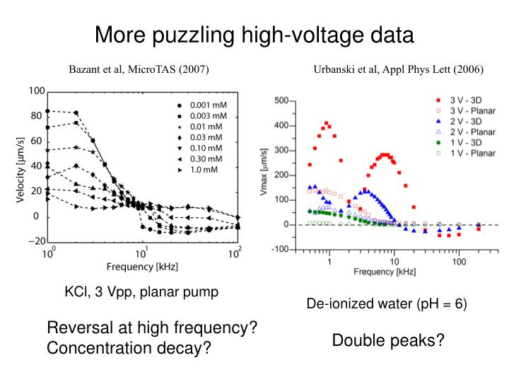 More puzzling high-voltage data