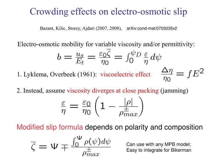 Crowding effects on electro-osmotic slip