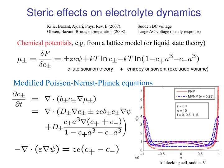 Steric effects on electrolyte dynamics
