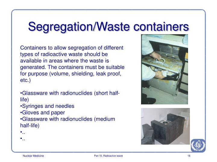 Segregation/Waste containers