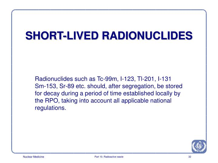 SHORT-LIVED RADIONUCLIDES