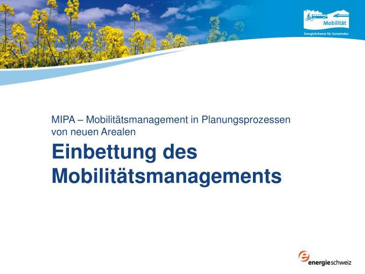 Einbettung des Mobilitätsmanagements