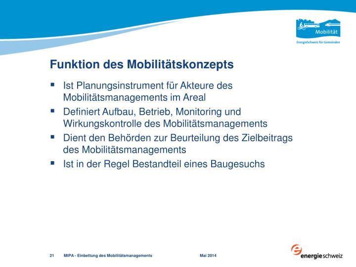 Funktion des Mobilitätskonzepts