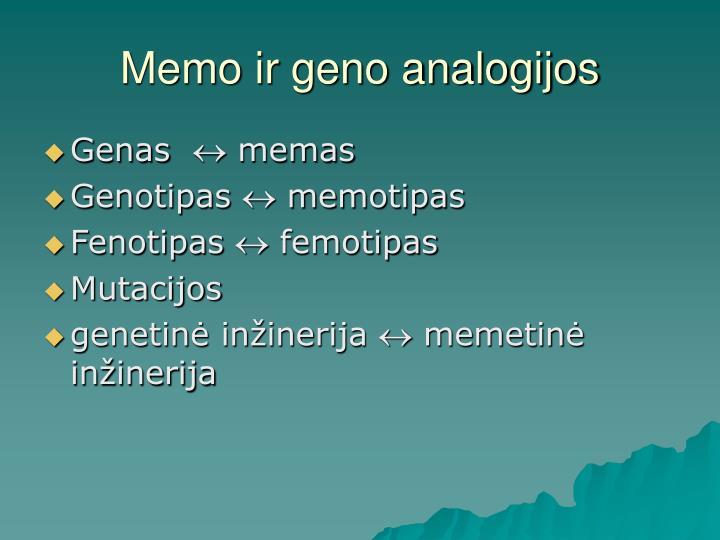 Memo ir geno analogijos