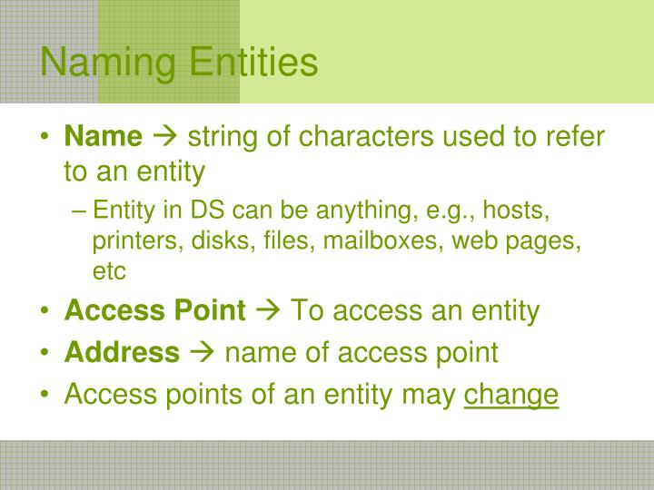 Naming Entities